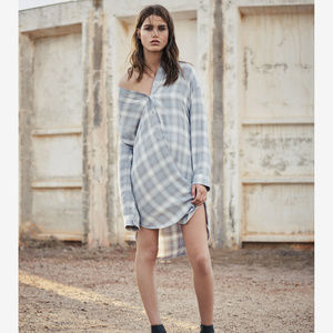Allsaints Marlon check dress light blue check us2